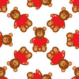 Het naadloze patroon van de teddybeer Stock Fotografie