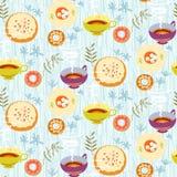 Het naadloze patroon van de thee Gestileerde theekoppen, platen met suiker Stock Afbeeldingen