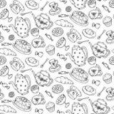 Het naadloze patroon van de theetijd met hand getrokken krabbelelementen Royalty-vrije Stock Foto