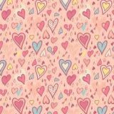 Het naadloze patroon van de valentijnskaart met harten Royalty-vrije Stock Afbeeldingen