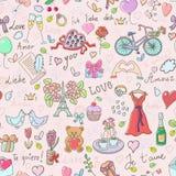 Het naadloze patroon van de valentijnskaartendag Stock Foto