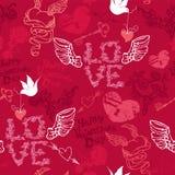 Het naadloze patroon van de valentijnskaartendag met getrokken hand hij Stock Foto's
