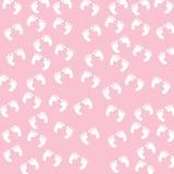 Het Naadloze Patroon van de Voetafdrukken van het Meisje van de baby Royalty-vrije Stock Fotografie