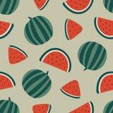 Het naadloze patroon van de watermeloen Vector illustratie Stock Afbeelding