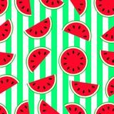 Het naadloze patroon van de watermeloen Vector illustratie Herhaal achtergrond met meloenplakken en verticale strepen vers stock illustratie