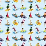 Het naadloze patroon van de watersport Royalty-vrije Stock Foto