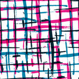 Het naadloze patroon van de waterverf gewaagde plaid met kleurrijke strepen Ve Royalty-vrije Stock Afbeeldingen