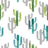 Het naadloze patroon van de waterverfcactus Vectorachtergrond met groene en blauwe cactus royalty-vrije illustratie