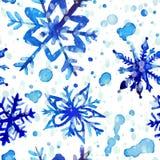 Het naadloze patroon van de waterverfsneeuwvlok royalty-vrije illustratie