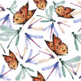 Het naadloze patroon van de waterverfvlinder Stock Afbeelding