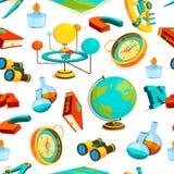 Het naadloze patroon van de wetenschap Vectorbeelden van aardrijkskunde en wetenschap stock illustratie