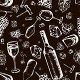 Het naadloze patroon van de wijn De vectortextuur trekt ter beschikking stijl Stock Foto