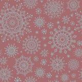 Het naadloze patroon van de winterkerstmis met sneeuwvlokken op de achtergrond van Bourgondië royalty-vrije illustratie