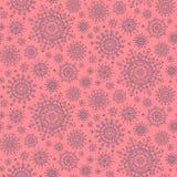 Het naadloze patroon van de winterkerstmis met sneeuwvlokken op roze achtergrond stock illustratie