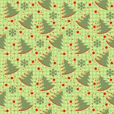 Het naadloze patroon van de winterkerstmis op een groene achtergrond met Chr royalty-vrije illustratie