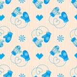 Het Naadloze Patroon van de wintervuisthandschoenen. Blauwe versie. Mag voor w worden gebruikt Stock Foto