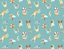 Het naadloze patroon van de zomer Mensen die in het overzees zwemmen Vector illustratie royalty-vrije illustratie