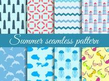 Het naadloze patroon van de zomer Patroon met een vuurtoren, mariene fauna Reeks naadloze patronen Vector vector illustratie