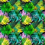 Het naadloze patroon van de zomer tropische bladeren Royalty-vrije Stock Foto's
