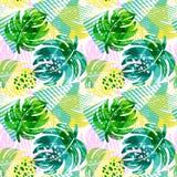 Het naadloze patroon van de zomer tropische bladeren Stock Afbeelding