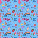 Het naadloze patroon van het de zomerpop-art royalty-vrije illustratie