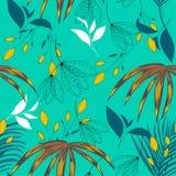 Het naadloze patroon van de de zomertendens met heldere tropische bladeren en installaties op een lichtgroene achtergrond Vector  vector illustratie