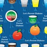 Het naadloze patroon van het diabetesbeeldverhaal royalty-vrije illustratie