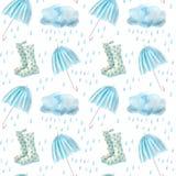 Het naadloze patroon van een regen daalt, wellingtons, paraplu en wolken Stock Afbeeldingen