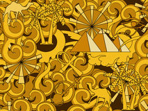 Het naadloze patroon van Egypte Hand getrokken krabbel oude Egyptische elementen stock illustratie