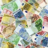 Het naadloze patroon van eurorekeningen Stock Foto