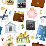 Het Naadloze Patroon van financiënpictogrammen Stock Fotografie