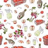 Het naadloze patroon van gehele en gesneden rode appelen, mulus bloeit en over verschillende elementen op witte achtergrond stock illustratie