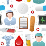 Het Naadloze Patroon van geneeskundepictogrammen vector illustratie
