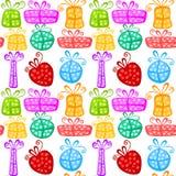 Het naadloze patroon van giftdozen vector illustratie
