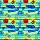 Het naadloze patroon van groenten Herhaalbaar Patroon met Gezond Voedsel Royalty-vrije Stock Foto's