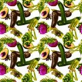 Het naadloze patroon van groenten Herhaalbaar Patroon met Gezond Voedsel Stock Fotografie