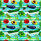 Het naadloze patroon van groenten Herhaalbaar Patroon met Gezond Voedsel Stock Foto's