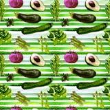 Het naadloze patroon van groenten Herhaalbaar Patroon met Gezond Voedsel Stock Afbeelding