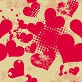 Het naadloze patroon van Grunge met harten. Stock Afbeeldingen