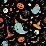 Het naadloze patroon van Halloween Stock Fotografie