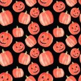 Het naadloze patroon van Halloween van de waterverfpompoen op zwarte achtergrond Het symbool van Halloween Halloween-partijdecora vector illustratie