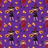 Het naadloze patroon van Halloween met leuk meisje in Halloween-uitrusting van Duivels en heks vector illustratie