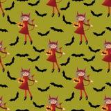 Het naadloze patroon van Halloween met leuk meisje in Halloween-uitrusting van Duivels en knuppel royalty-vrije illustratie