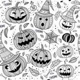 Het naadloze patroon van Halloween met leuke pompoenen Royalty-vrije Stock Afbeelding