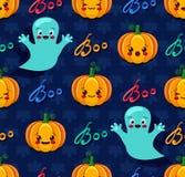 Het naadloze patroon van Halloween met leuke pompoenen en geesten Stock Foto