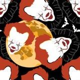 Het naadloze patroon van Halloween met manen en clownshoofden Vectorachtergrond voor nachtpartij stock afbeelding