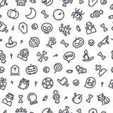 Het naadloze patroon van Halloween met pictogrammen Royalty-vrije Stock Afbeeldingen