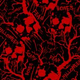 Het naadloze patroon van Halloween met rode schedels, beenderen, bomen en woorden Het kan voor prestaties van het ontwerpwerk noo stock fotografie