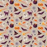 Het Naadloze Patroon van Halloween met Vlakke Stickerpictogrammen Stock Foto