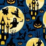 Het naadloze patroon van Halloween voor partij met knuppels, spoken, kastelen en pompoenen stock afbeeldingen